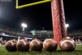 November 10, 2017, Boston, MA: Footballs are displayed before a game between Brown University and Dartmouth College during the Fenway Gridiron Series presented by Your Call Football at Fenway Park in Boston, Massachusetts Friday, November 10, 2017. (Photo by Billie Weiss/Boston Red Sox)