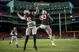 November 10, 2017, Boston, MA: Members of Brown University react as they are introduced before a game against Dartmouth College during the Fenway Gridiron Series presented by Your Call Football at Fenway Park in Boston, Massachusetts Friday, November 10, 2017. (Photo by Billie Weiss/Boston Red Sox)