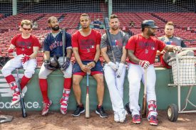 """""""Brock Holt #12, Chris Young #30, Xander Bogaerts #2, Deven Marrero #17, Pablo Sandoval #48, and Christian Vazquez #7 of the Boston Red Sox lean against the wall during a simulated agme before a game against the Los Angeles Angels of Anaheim on June 24, 2017 at Fenway Park in Boston, Massachusetts."""""""