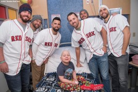 December 14, 2017, Boston, MA: Boston Red Sox pitchers Austin Maddox, pitcher Brian Johnson, infielder Deven Marrero, and pitchers Heath Hembree, Robby Scott, and Matt Barnes pose for a photograph with a patient during a visit to Boston Children's Hospital as part of the 2017 Holiday Caravan in Boston, Massachusetts Thursday, December 14, 2017. (Photo by Billie Weiss/Boston Red Sox)