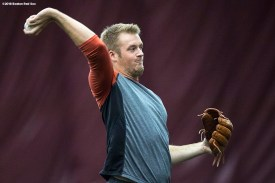 January 16, 2018, Boston, MA: Ty Buttrey throws during a 2018 Boston Red Sox Rookie Development workout at Boston College in Boston, Massachusetts Wednesday, January 17, 2018. (Photo by Billie Weiss/Boston Red Sox)