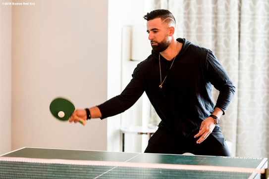 January 20, 2018, Ledyard, CT: Boston Red Sox infielder Deven Marrero plays ping pong during the 2018 Red Sox Winter Weekend at Foxwoods Resort & Casino in Ledyard, Connecticut Friday, January 20, 2018. (Photo by Billie Weiss/Boston Red Sox)