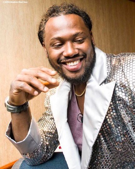 January 20, 2018, Ledyard, CT: Boston Red Sox designated hitter Hanley Ramirez poses for a photograph before the game show during the 2018 Red Sox Winter Weekend at Foxwoods Resort & Casino in Ledyard, Connecticut Friday, January 20, 2018. (Photo by Billie Weiss/Boston Red Sox)