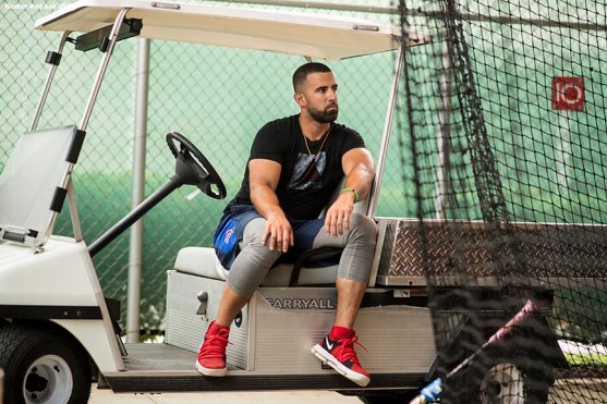 FT. MYERS, FL - FEBRUARY 14: Deven Marrero #17 of the Boston Red Sox sits in a golf cart during a team workout on February 14, 2018 at Fenway South in Fort Myers, Florida . (Photo by Billie Weiss/Boston Red Sox/Getty Images) *** Local Caption *** Deven Marrero