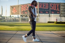 FT. MYERS, FL - FEBRUARY 16: Hanley Ramirez #13 of the Boston Red Sox arrives during a team workout on February 16, 2018 at Fenway South in Fort Myers, Florida . (Photo by Billie Weiss/Boston Red Sox/Getty Images) *** Local Caption *** Hanley Ramirez