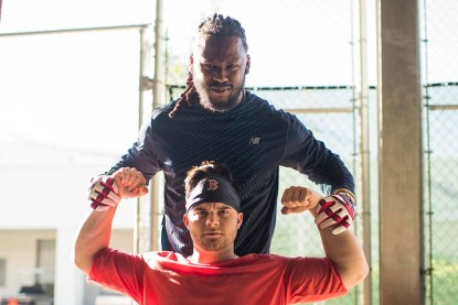 FT. MYERS, FL - FEBRUARY 16: Hanley Ramirez #13 of the Boston Red Sox poses with Andrew Benintendi #16 during a team workout on February 16, 2018 at Fenway South in Fort Myers, Florida . (Photo by Billie Weiss/Boston Red Sox/Getty Images) *** Local Caption *** Hanley Ramirez; Andrew Benintendi