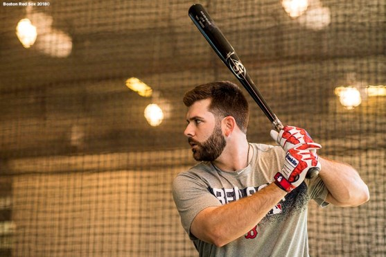 FT. MYERS, FL - FEBRUARY 16: Mitch Moreland #18 of the Boston Red Sox takes batting practice during a team workout on February 16, 2018 at Fenway South in Fort Myers, Florida . (Photo by Billie Weiss/Boston Red Sox/Getty Images) *** Local Caption *** Mitch Moreland