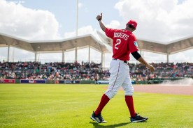FORT MYERS, FL - FEBRUARY 25: Xander Bogaerts #2 of the Boston Red Sox warms up during a game against the Baltimore Orioles at JetBlue Park at Fenway South on February 25, 2018 in Fort Myers, Florida. (Photo by Billie Weiss/Boston Red Sox/Getty Images) *** Local Caption *** Xander Bogaerts