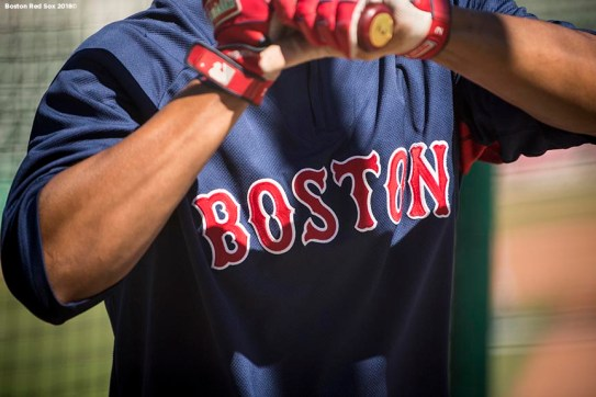 FT. MYERS, FL - MARCH 4: Xander Bogaerts #2 of the Boston Red Sox takes batting practice during a team workout on March 4, 2018 at Fenway South in Fort Myers, Florida . (Photo by Billie Weiss/Boston Red Sox/Getty Images) *** Local Caption *** Xander Bogaerts