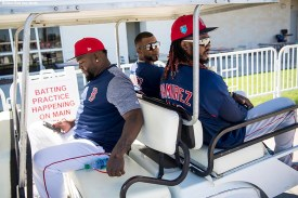 FT. MYERS, FL - MARCH 4: Former designated hitter David Ortiz, Eduardo Nunez #36, and Hanley Ramriez #13 of the Boston Red Sox ride in a golf cart during a team workout on March 4, 2018 at Fenway South in Fort Myers, Florida . (Photo by Billie Weiss/Boston Red Sox/Getty Images) *** Local Caption *** Hanley Ramirez; Eduardo Nunez; David Ortiz