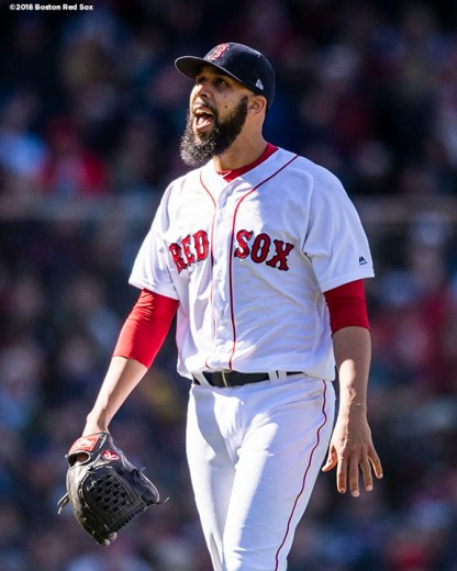 BOSTON, MA - APRIL 5: David Price #24 of the Boston Red Sox delivers reacts during the sixth inning of the Opening Day game against the Tampa Bay Rays on April 5, 2018 at Fenway Park in Boston, Massachusetts. (Photo by Billie Weiss/Boston Red Sox/Getty Images) *** Local Caption *** David Price