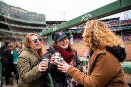 BOSTON, MA - APRIL 8: Fans enjoy the Jim Beam Dugout during a game between the Boston Red Sox and the Tampa Bay Rays on April 8, 2018 at Fenway Park in Boston, Massachusetts. (Photo by Billie Weiss/Boston Red Sox/Getty Images) *** Local Caption ***