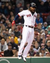 BOSTON, MA - APRIL 12: Hanley Ramirez #13 of the Boston Red Sox reacts as he is injured after being hit by a pitch during the inning of a game against the New York Yankees on April 12, 2018 at Fenway Park in Boston, Massachusetts. (Photo by Billie Weiss/Boston Red Sox/Getty Images) *** Local Caption *** Hanley Ramirez