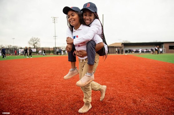 SPRINGFIELD, MA. - APRIL 27: Kids participate in a Major League Baseball Play Ball event on Friday, April 27, 2018 at Berry-Allen Field at Springfield College in Springfield, Massachusetts. (Photo by Billie Weiss/MLB Photos via Getty Images) *** Local Caption ***