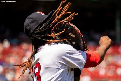 BOSTON, MA - MAY 2: Hanley Ramirez #13 of the Boston Red Sox warms up before a game against the Kansas City Royals on May 2, 2018 at Fenway Park in Boston, Massachusetts. (Photo by Billie Weiss/Boston Red Sox/Getty Images) *** Local Caption *** Hanley Ramirez