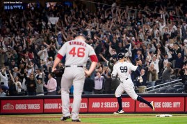 NEW YORK, NY - MAY 9: Aaron Judge #99 of the New York Yankees rounds the bases after hitting a two run home run as Craig Kimbrel #46 of the Boston Red Sox reacts during the eighth inning of a game on May 9, 2018 at Yankee Stadium in the Bronx borough of New York City. (Photo by Billie Weiss/Boston Red Sox/Getty Images) *** Local Caption *** Aaron Judge; Craig Kimbrel