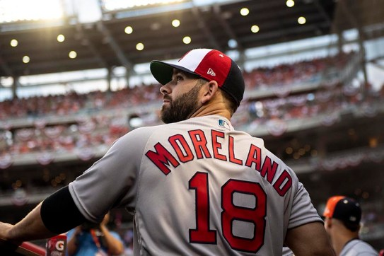 WASHINGTON, DC - JULY 17: Mitch Moreland #18 of the Boston Red Sox looks on before the 89th MLB All-Star Game at Nationals Park Tuesday, July 17, 2018 in Washington, DC. (Photo by Billie Weiss/Boston Red Sox/Getty Images) *** Local Caption *** Mitch Moreland