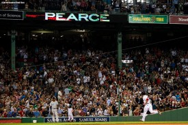 BOSTON, MA - AUGUST 2: Steve Pearce #25 of the Boston Red Sox rounds the bases after hitting a two-run home run during the sixth inning of a game against the New York Yankees on August 2, 2018 at Fenway Park in Boston, Massachusetts. It was his third home run of the game. (Photo by Billie Weiss/Boston Red Sox/Getty Images) *** Local Caption *** Steve Pearce