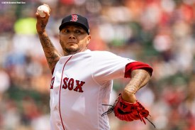 BOSTON, MA - AUGUST 19: Hector Velazquez #76 of the Boston Red Sox delivers during the first inning of a game against the Tampa Bay Rays on August 19, 2018 at Fenway Park in Boston, Massachusetts. (Photo by Billie Weiss/Boston Red Sox/Getty Images) *** Local Caption *** Hector Velazquez