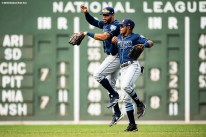 BOSTON, MA - AUGUST 19: Carlos Gomez #27 and Tommy Pham #29 of the Tampa Bay Rays react after a victory against the Boston Red Sox on August 19, 2018 at Fenway Park in Boston, Massachusetts. (Photo by Billie Weiss/Boston Red Sox/Getty Images) *** Local Caption *** Carlos Gomez; Tommy Pham