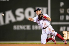 BOSTON, MA - AUGUST 21: Ian Kinsler #5 of the Boston Red Sox throw to first base during the fifth inning of a game against the Cleveland Indians on August 21, 2018 at Fenway Park in Boston, Massachusetts. (Photo by Billie Weiss/Boston Red Sox/Getty Images) *** Local Caption *** Ian Kinsler