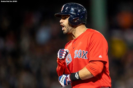 BOSTON, MA - SEPTEMBER 7: J.D. Martinez #28 of the Boston Red Sox reacts after hitting a game tying RBI single during the seventh inning of a game against the Houston Astros on September 7, 2018 at Fenway Park in Boston, Massachusetts. (Photo by Billie Weiss/Boston Red Sox/Getty Images) *** Local Caption *** J.D. Martinez