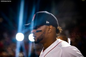 BOSTON, MA - SEPTEMBER 9: Xander Bogaerts #2 of the Boston Red Sox looks on before a game against the Houston Astros on September 9, 2018 at Fenway Park in Boston, Massachusetts. (Photo by Billie Weiss/Boston Red Sox/Getty Images) *** Local Caption *** Xander Bogaerts