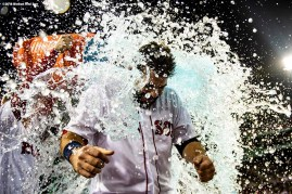 BOSTON, MA - SEPTEMBER 9: Mitch Moreland #18 of the Boston Red Sox is doused with Gatorade after hitting a game winning walk-off RBI single during the ninth inning of a game against the Houston Astros on September 9, 2018 at Fenway Park in Boston, Massachusetts. (Photo by Billie Weiss/Boston Red Sox/Getty Images) *** Local Caption *** Mitch Moreland