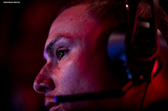 September 17, 2018, New York City, NY: Boston Red Sox catcher Christian Vazquez plays video games during a visit to the Microsoft gaming studio in New York City, New York Monday, September 17, 2018. (Photo by Billie Weiss/Boston Red Sox)
