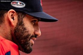 BOSTON, MA - OCTOBER 3: J.D. Martinez #28 of the Boston Red Sox looks on during a workout before the American League Division Series on October 3, 2018 at Fenway Park in Boston, Massachusetts. (Photo by Billie Weiss/Boston Red Sox/Getty Images) *** Local Caption *** J.D. Martinez