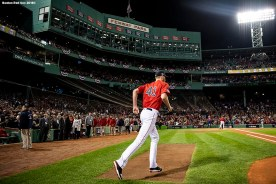 BOSTON, MA - OCTOBER 5: Chris Sale #41 of the Boston Red Sox runs onto the field before game one of the American League Division Series against the New York Yankees on October 5, 2018 at Fenway Park in Boston, Massachusetts. (Photo by Billie Weiss/Boston Red Sox/Getty Images) *** Local Caption *** Chris Sale