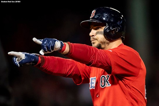 BOSTON, MA - OCTOBER 5: Steve Pearce #25 of the Boston Red Sox reacts after hitting an RBI single during the third inning of game one of the American League Division Series against the New York Yankees on October 5, 2018 at Fenway Park in Boston, Massachusetts. (Photo by Billie Weiss/Boston Red Sox/Getty Images) *** Local Caption *** Steve Pearce