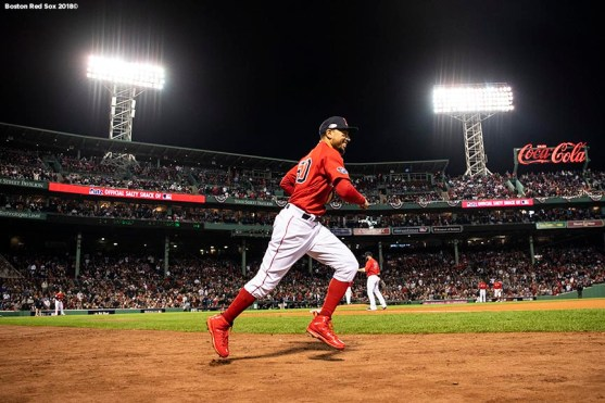 BOSTON, MA - OCTOBER 5: Mookie Betts #50 of the Boston Red Sox runs onto he field during the ninth inning of game one of the American League Division Series against the New York Yankees on October 5, 2018 at Fenway Park in Boston, Massachusetts. (Photo by Billie Weiss/Boston Red Sox/Getty Images) *** Local Caption *** Mookie Betts