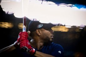 NEW YORK, NY - OCTOBER 8: Xander Bogaerts #2 of the Boston Red Sox takes batting practice before game three of the American League Division Series against the New York Yankees on October 8, 2018 at Yankee Stadium in the Bronx borough of New York City. (Photo by Billie Weiss/Boston Red Sox/Getty Images) *** Local Caption *** Xander Bogaerts