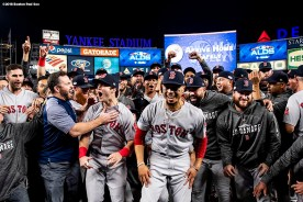 NEW YORK, NY - OCTOBER 9: Members of the Boston Red Sox celebrate after clinching the American League Division Series in game four against the New York Yankees on October 9, 2018 at Yankee Stadium in the Bronx borough of New York City. (Photo by Billie Weiss/Boston Red Sox/Getty Images) *** Local Caption ***