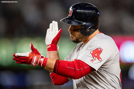 NEW YORK, NY - OCTOBER 9: Steve Pearce #25 of the Boston Red Sox reacts after hitting a single during the third inning of game four of the American League Division Series against the New York Yankees on October 9, 2018 at Yankee Stadium in the Bronx borough of New York City. (Photo by Billie Weiss/Boston Red Sox/Getty Images) *** Local Caption *** Steve Pearce