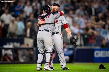 NEW YORK, NY - OCTOBER 9: Craig Kimbrel #46 and Christian Vazquez #7 of the Boston Red Sox celebrate after clinching the American League Division Series in game four against the New York Yankees on October 9, 2018 at Yankee Stadium in the Bronx borough of New York City. (Photo by Billie Weiss/Boston Red Sox/Getty Images) *** Local Caption *** Craig Kimbrel; Christian Vazquez