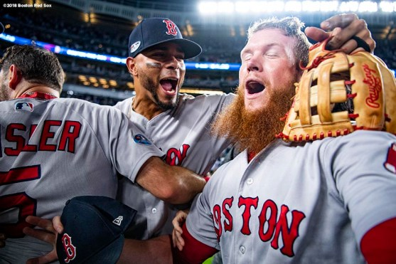 NEW YORK, NY - OCTOBER 9: Craig Kimbrel #46 and Xander Bogaerts #2 of the Boston Red Sox celebrate after clinching the American League Division Series in game four against the New York Yankees on October 9, 2018 at Yankee Stadium in the Bronx borough of New York City. (Photo by Billie Weiss/Boston Red Sox/Getty Images) *** Local Caption *** Craig Kimbrel; Xander Bogaerts