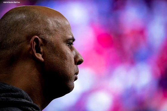 HOUSTON, TX - OCTOBER 17: Manager Alex Cora of the Boston Red Sox looks on before game four of the American League Championship Series against the Houston Astros on October 17, 2018 at Minute Maid Park in Houston, Texas. (Photo by Billie Weiss/Boston Red Sox/Getty Images) *** Local Caption *** Alex Cora