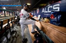 HOUSTON, TX - OCTOBER 18: Jackie Bradley Jr. #19 of the Boston Red Sox prepares in the dugout before game five of the American League Championship Series against the Houston Astros on October 18, 2018 at Minute Maid Park in Houston, Texas. (Photo by Billie Weiss/Boston Red Sox/Getty Images) *** Local Caption *** Jackie Bradley Jr.