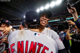 HOUSTON, TX - OCTOBER 18: Andrew Benintendi #16 and Rafael Devers #11 of the Boston Red Sox celebrate after clinching the American League Championship Series in game five against the Houston Astros on October 18, 2018 at Minute Maid Park in Houston, Texas. (Photo by Billie Weiss/Boston Red Sox/Getty Images) *** Local Caption *** Andrew Benintendi; Rafael Devers