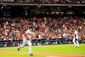 HOUSTON, TX - OCTOBER 18: J.D. Martinez #28 of the Boston Red Sox rounds the bases after hitting a solo home run off of Justin Verlander #35 of the Houston Astros during the third inning of game five of the American League Championship Series on October 18, 2018 at Minute Maid Park in Houston, Texas. (Photo by Billie Weiss/Boston Red Sox/Getty Images) *** Local Caption *** Justin Verlander; J.D. Martinez