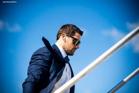 BOSTON, MA - OCTOBER 25: Nathan Eovaldi #17 of the Boston Red Sox boards the plane as they travel to Los Angeles before game three of the 2018 World Series against the Los Angeles Dodgers on October 25, 2018 at Fenway Park in Boston, Massachusetts. (Photo by Billie Weiss/Boston Red Sox/Getty Images) *** Local Caption *** Nathan Eovaldi