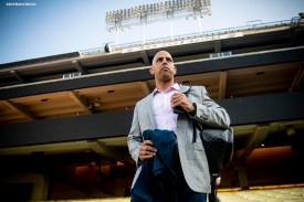 LOS ANGELES, CA - OCTOBER 25: Manager Alex Cora of the Boston Red Sox walks down the stairs as he arrives at Dodger Stadium before game three of the 2018 World Series against the Los Angeles Dodgers on October 25, 2018 at Dodger Stadium in Los Angeles, California. (Photo by Billie Weiss/Boston Red Sox/Getty Images) *** Local Caption *** Alex Cora