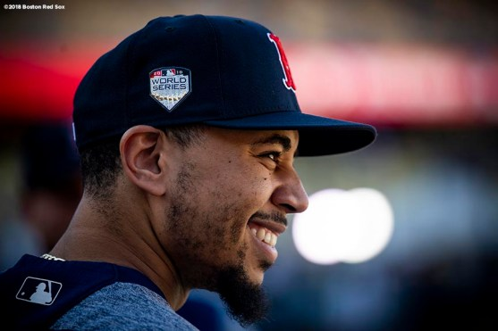LOS ANGELES, CA - OCTOBER 26: Mookie Betts #50 of the Boston Red Sox reacts before game three of the 2018 World Series against the Los Angeles Dodgers on October 26, 2018 at Dodger Stadium in Los Angeles, California. (Photo by Billie Weiss/Boston Red Sox/Getty Images) *** Local Caption *** Mookie Betts