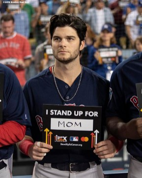 LOS ANGELES, CA - OCTOBER 27: Andrew Benintendi #16 of the Boston Red Sox participates in a Stand Up To Cancer ceremony during game four of the 2018 World Series against the Los Angeles Dodgers on October 27, 2018 at Dodger Stadium in Los Angeles, California. (Photo by Billie Weiss/Boston Red Sox/Getty Images) *** Local Caption *** Andrew Benintendi