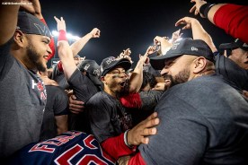 LOS ANGELES, CA - OCTOBER 28: Mookie Betts #50 of the Boston Red Sox reacts with teammates as they celebrate after winning the 2018 World Series in game five against the Los Angeles Dodgers on October 28, 2018 at Dodger Stadium in Los Angeles, California. (Photo by Billie Weiss/Boston Red Sox/Getty Images) *** Local Caption *** Mookie Betts