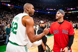 BOSTON, MA - NOVEMBER 1: J.D. Martinez #28 of the Boston Red Sox greets Al Horford #42 of the Boston Celtics during a Boston Celtics game on November 1, 2018 at TD Garden in Boston, Massachusetts. (Photo by Billie Weiss/Boston Red Sox/Getty Images) *** Local Caption *** J.D. Martinez; Al Horford