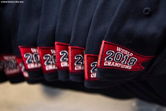 April 4, 2019 , Boston, MA: Boston Red Sox giveaway hats are shown during a visit to the Sarah Greenwood School in Dorchester, Massachusetts Thursday, April 4, 2019. (Photo by Billie Weiss/Boston Red Sox)