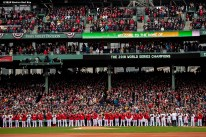 BOSTON, MA - APRIL 9: Members of the Boston Red Sox are introduced during a 2018 World Series championship ring ceremony before the Opening Day game against the Toronto Blue Jays on April 9, 2019 at Fenway Park in Boston, Massachusetts. (Photo by Billie Weiss/Boston Red Sox/Getty Images) *** Local Caption ***